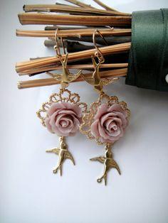 Vintage Earrings Gold Bird Charms Vintage Rose Resin by misskukie, £21.00