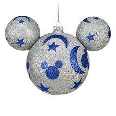 Disney Christmas Ornament - Mickey Ears Large - Silver Glitter Sorcerer