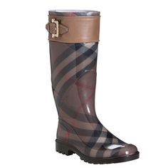 @Overstock.com - Burberry Women's Sterling Smoked Check Rain Boots - Rainy days are no match for these stylish rain boots from Burberry. These boots feature the signature check design across the exterior, accented with a stripe of genuine calf leather and a buckle detail across the top.  http://www.overstock.com/Clothing-Shoes/Burberry-Womens-Sterling-Smoked-Check-Rain-Boots/7564771/product.html?CID=214117 $299.99