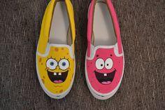 Shipping Worldwide    Sponge Bob and Patrick customed slip ons