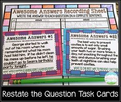 Restate the Question Task Cards.  Perfect for differentiating and scaffolding this tricky skill!