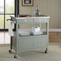 The Sydney Kitchen Cart is the perfect way to add extra counter and storage space in your kitchen. This cart has a convenient towel holder on the side and features a stainless steel top, spacious cabinet area, 2 drawers, and a shelf. Small Kitchen Cart, Kitchen Carts On Wheels, Kitchen Counter Storage, Rolling Kitchen Island, Kitchen Island Cart, Modern Kitchen Island, Kitchen Islands, Kitchen Unit, Kitchen Organization