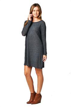 Cozy Up Angora Feel Oversized Tunic Dress - Charcoal