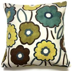 Two Blue Yellow Olive Green Brown Pillow Covers Funky Flowers 16 inch. $30.00, via Etsy.