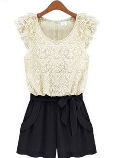 White Black Sleeveless Lace Belt Jumpsuit