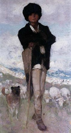 Young Shepherd with his Dog, Nicolae Grigorescu