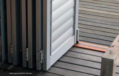 stacked bifold aluminum shutters #shutters #aluminumshutters #commercialshutters