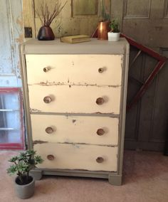 Art Deco, Waterfall Tall Dresser, Painted Furniture, 4 Drawer Chest