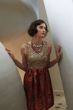 I tried this dress on in Anthropologie. It is so gorgeous and perfect for the Christmas season.