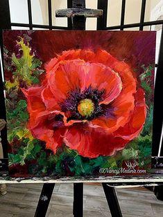 Oil Painting tips Poppy Flower Painting, Acrylic Painting Flowers, Watercolor Flowers, Flower Art, Watercolor Art, Poppies Painting, Pour Painting, Painting Tips, Art Oil