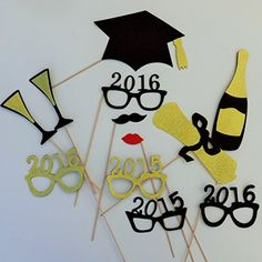 Graduation Photo Booth Props 2015 and 2016 Glasses Mustache Cap Diploma