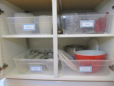 everyday organizing: {An Organized Kitchen} Pretend Pull-Outs -  the $6 28-quart Sterilite container from Target