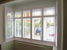 Bay Window Plantation Shutters Fitted in Blackfield, New Forest (inside) Window Shutters Inside, White Shutters, Window Awnings, Wood Windows, Casement Windows, Windows And Doors, Bay Windows, Interior And Exterior Angles, Interior Design