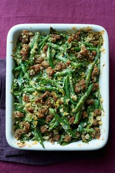 Green Bean Casserole with Crispy Sausage Green Bean Casserole with Crispy Sausage - crisped, succulent Italian sausage adds loads of flavor to this reinvented version of a holiday staple. Thanksgiving Recipes, Holiday Recipes, Dinner Recipes, Dinner Ideas, Holiday Meals, Christmas Recipes, Thanksgiving Feast, Christmas Meals, Christmas Dishes