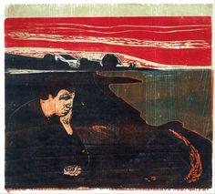 Edvard MunchEvening: Melancholy I 1896 Color woodcut 41.1 x 55.7 cmMunch Museum, Oslo