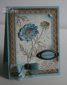 For the background I used the script & splatter stamps from French Foliage.