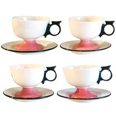 "1stdibs.com | Rare Alexander Girard ""La Fonda Del Sol"" Coffee Cups, Saucers."