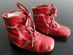 hightop laced, red leather Victorian baby shoes ... ca. 1890
