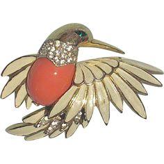 Vintage Signed Jomaz Fluttering Hummingbird Brooch