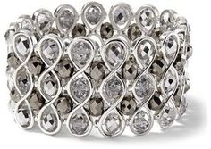 White House Black Market Wide Silvertone/Crystal Stretch Bracelet -Great example of a stellar piece of jewelry!