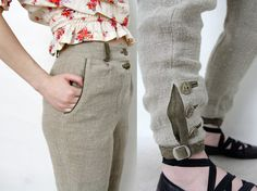 Vintage pants / Austrian linen and leather high waisted trousers by nemres
