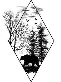 Instead of a bear, I'd want a deer Source tattoo designs, tattoo, small tattoo, meaningful tatto Tattoo Drawings, Cool Drawings, Body Art Tattoos, New Tattoos, Sleeve Tattoos, Cool Tattoos, Tattoo Art, Tatoos, Compass Tattoo