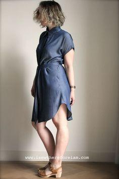 A denim tencel kalle shirt dress by closet case patterns