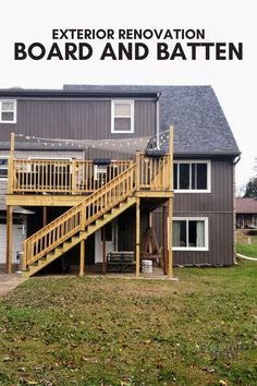 "Vertical Siding, also known as Board and Batten, is a modern option for an exterior renovation. Check out the before and after of this home, which went from horizontal vinyl ""lap"" to vertical vinyl siding. Board and Batten Vinyl Siding 