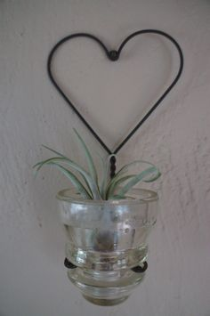 Vintage Telephone Pole Insulator Votive Holder or Planter with Air Plant via Etsy