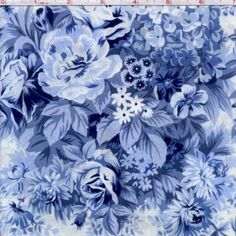 Cotton Quilt Fabric The Garden Twist Collection Blue White Floral 1/2 Yard - product image