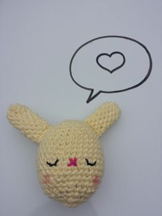Crochet stuffed Bunny Egg toy, in 100% Cotton, Pastel Yellow, Available in other colours by CroShellbyshelley on Etsy