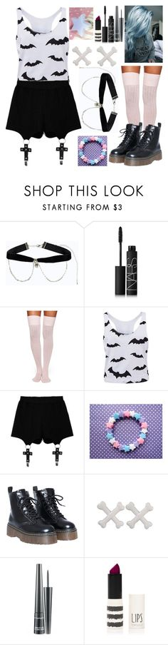 """Pastel goth #3"" by crazydirectionergirl ❤ liked on Polyvore featuring Boohoo, NARS Cosmetics, Kate Spade, Chicnova Fashion, Kreepsville 666, MAC Cosmetics and Topshop"