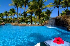 Pool and waterfall at Palm Island, Grenadines
