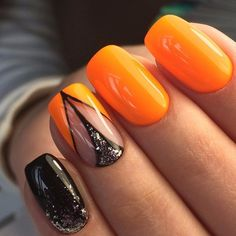 Nail design inspiration, which color to choose, gel color nail, beauty nails, orange and black shiny design Source Orange Nail Designs, Best Nail Art Designs, Fall Nail Designs, Orange Design, Nail Design Glitter, Nails Design, Nail Art Design Gallery, Autumn Nails, Winter Nails