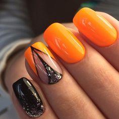 Beautiful summer nails, Black and orange nails, Eiffel Tower nails, Orange shellac, Original nails, Resort nails, Summer nails 2017, Two color nails