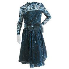 Jean-Louis Couture 1950s Black Bow Sequin Lace Cocktail Dress