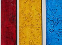 This listing is for a Made To Order CUSTOM grouping similar to the photos above. These are handcrafted paintings so although they will be similar, each one will be unique. You can request different colors to match your home or office decor. Custom orders can normally be shipped in 2 to 3 weeks.  This collection of 5 wood panel paintings is part of my Textured Reflections Series – A series of wooden panels created with textured patterns in a sea of vivid colors - turquoise, yellow, red, green…