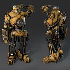 "Evolve Hunter ""Bucket"", Jason Hasenauer on ArtStation at https://www.artstation.com/artwork/evolve-hunter-bucket"