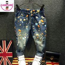 2db8553d4e6 2-7Yrs Baby Girls Boys Jeans Children Harem Pants Jeans Scrawl Girls  Trousers Fashion Autumn