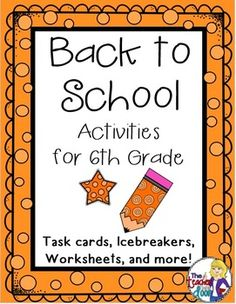 Great 39 page set of Back to School Activities for 6th Grade including worksheets, task cards, games, a writing activity, math activities and more to keep your kids busy learning the first week. Gives you as a teacher, a simple way to get to know the kids, while allowing them to get to know one another, and helping them make the transition to a new classroom. This is a go to set you'll use year after year! (TpT Resource)