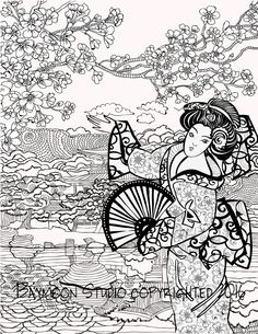 geisha in garden coloring page printable coloring by baymoonstudio - Coloring Pages For Paint Program
