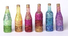 Glittering Miniature Rainbow Bottles for Your Dollhouse by DinkyWorld at Etsy