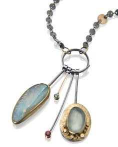 Pastel boulder opal and aquamarine cluster necklace.  www.sydneylynch.com #ccaf  #opals #necklaces