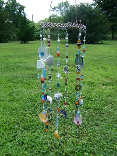 Beautiful Handmade Suncatcher Windchime made with recycled glass, stones & glass beads on Copper Ring