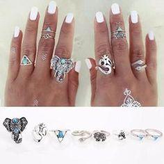 8PCS/Set Bohemian Elephant Midi Ring Set Steampunk Turquoise Knuckle Rings