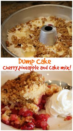 Dump cake with only 3 ingredients. So delish. Great for a party or just because! Can even be put in mason jars. #dumpcake