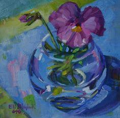 """Elizabeth Blaylock: """"Purple Pansy in a Clear Vase"""", oil."""