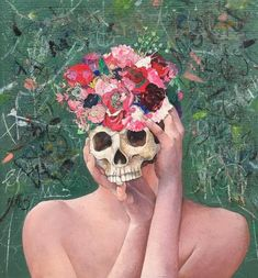 """ Floral Mind "" It reminds me of characters in Hamlet. Surealism Art, Comic Tutorial, Collage Art, Collages, Saatchi Art, Contemporary Art, Original Paintings, Horror, Illustration Art"
