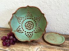 Ceramic Colander or Berry Bowl Large Strainer by MyMothersGarden