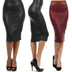 2846f529283 High Waist Faux Leather Pencil Skirt💕  feminization  transgender  captions   sissification